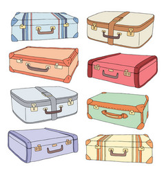 Cartoon decorative old retro suitcases vector