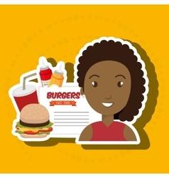 Child cartoon girl fast food vector