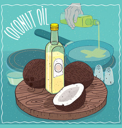 Coconut oil used for frying food vector
