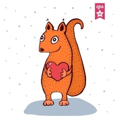 Cute Baby Squirrel with heart in hands vector image vector image