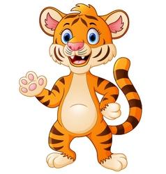 cute tiger waving cartoon vector image vector image