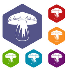 Forest mushroom icons set hexagon vector