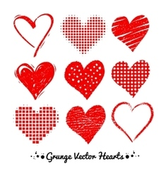 Grunge Valentine hearts vector image vector image