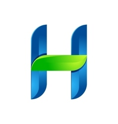 H letter leaves eco logo volume icon vector image vector image