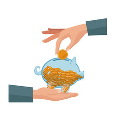 hand with piggy putting coin money vector image