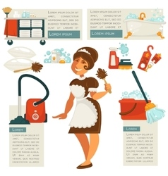 Housemaid and cleaning supplies vector