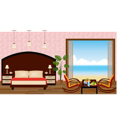 luxury interior of resort hotel room with outlet vector image