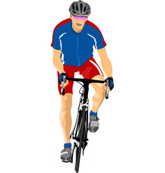 Man with sport bicycle vector