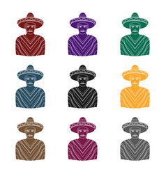 Mexican man in sombrero and poncho icon in black vector