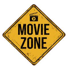 Movie zone vintage rusty metal sign vector