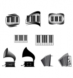music icons and symbols vector image vector image
