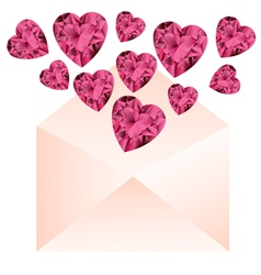 Opened envelope with pink gemstone hearts vector