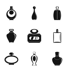 Perfume bottle shop icon set simple style vector