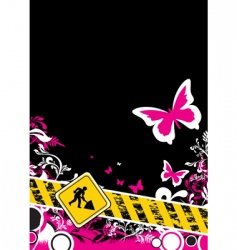pink floral construction vector image vector image