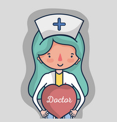 Professional nurse with heart to help people vector