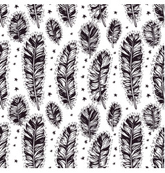 seamless pattern of hand drawn boho feather vector image