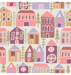 Seamless pattern with cartoon houses vector image vector image
