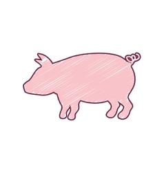 Silhouette pig with color strokes vector