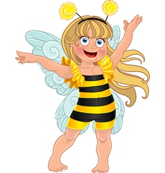 Small girl in carnival suit bee vector image vector image