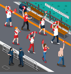 sports fans procession isometric composition vector image vector image