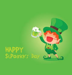 st patricks day happy leprechaun holding beer vector image