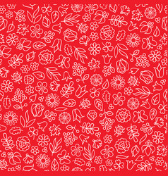 Summer floral bloom doodle tiled pattern flower vector