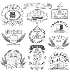 Vintage Bakery LabelsOutline hand sketched vector image vector image
