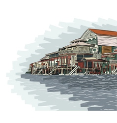 Waterside buildings vector