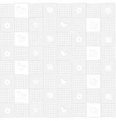 white background with hearts and flowers vector image