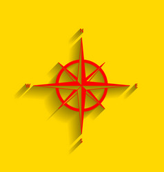 Wind rose sign red icon with soft shadow vector
