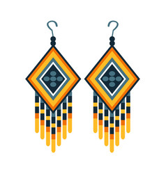 Woman earrings with beads native american indian vector