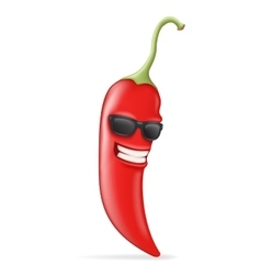 Cool hot chili pepper sunglasses happy character vector