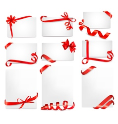 Set of beautiful cards with red gift bows vector