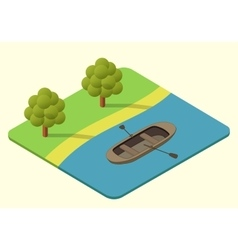 Wooden boat isometric vector