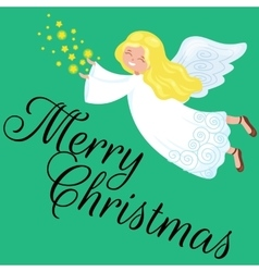 Christmas holiday flying angel with wings and vector