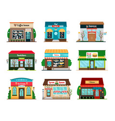 Shop and cafe colorful icons vector