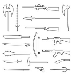 18 weapon outline icon medieval and modern vector