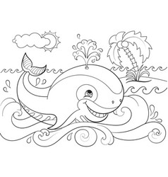 Blue whale on a background of ocean coloring for vector