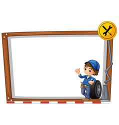Sign template with mechanic and tools vector