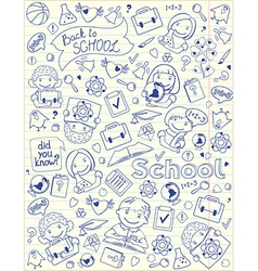 Background with school symbols on copy book page vector