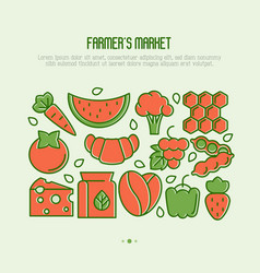 farmers market concept with thin line icons vector image
