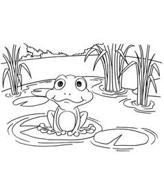 Cartoon frog on lily pad at lake coloring page vec vector