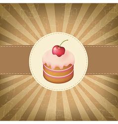 Retro label with cupcake vector