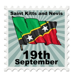 Post stamp of national day of saint kitts and nevi vector