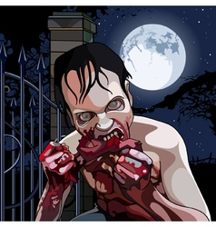 Cartoon zombie eat bloody meat on a moonlit night vector