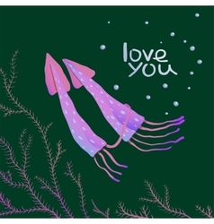 Squids love cartoon greeting card design vector