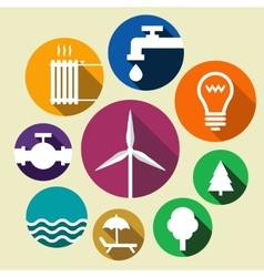 Set of environment friendly icons vector