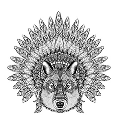 Hand drawn zentangle wolf in feathered war bonnet vector