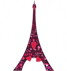 Love in eiffel tower silhouette vector