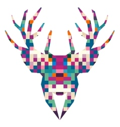 Animal head deer triangular pixel icon vector